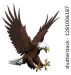 Stock vector vector illustration of attacking bald eagle 1281006187