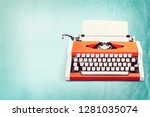 workspace with vintage orange...   Shutterstock . vector #1281035074