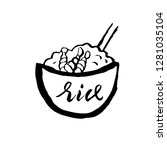 rice with prawn icon. grunge... | Shutterstock .eps vector #1281035104