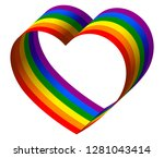 3d rainbow ribbon heart | Shutterstock .eps vector #1281043414