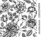 hand drawn roses. floral... | Shutterstock .eps vector #1281054094