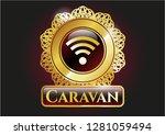 golden badge with wifi signal...   Shutterstock .eps vector #1281059494
