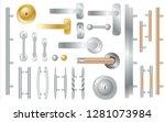 door handles set isolated on... | Shutterstock .eps vector #1281073984