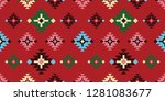 fabric pattern  folklore cloth... | Shutterstock .eps vector #1281083677