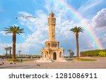 izmir clock tower with rainbow. ... | Shutterstock . vector #1281086911
