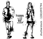 woman and man fashion models  ... | Shutterstock . vector #1281095794