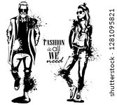 woman and man fashion models  ... | Shutterstock . vector #1281095821