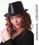 beautiful woman in  hat with... | Shutterstock . vector #128110019