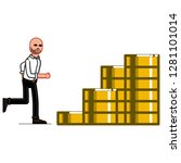 business man raning on coins... | Shutterstock . vector #1281101014