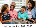 grandparents with grandchildren ... | Shutterstock . vector #128110385