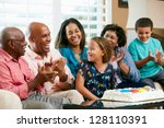 multi generation family... | Shutterstock . vector #128110391
