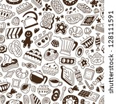 coffee  and sweets   seamless... | Shutterstock .eps vector #128111591