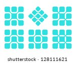Design element.Abstract water molecule vector square logo template set. Computer science  and engineering concept icons.