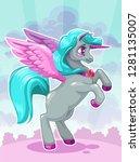 beautiful vactoon unicorn on... | Shutterstock .eps vector #1281135007