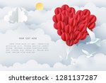 paper art of group of red... | Shutterstock .eps vector #1281137287