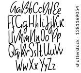 doodle simple grunge font. hand ... | Shutterstock .eps vector #1281169054