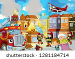 cartoon stage with fireman and... | Shutterstock . vector #1281184714
