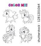 little cute cartoon pony set.... | Shutterstock .eps vector #1281201064