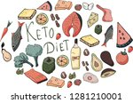 set with ketogenic diet food. | Shutterstock .eps vector #1281210001