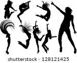 dancing girl silhouettes | Shutterstock .eps vector #128121425