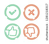 thin line check mark icons set... | Shutterstock .eps vector #1281218317
