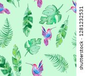 watercolor summer pattern with... | Shutterstock . vector #1281232531