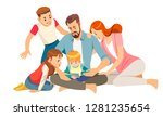 cheerful young family with kids ... | Shutterstock .eps vector #1281235654