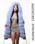 luxurious fur. girl posing fur... | Shutterstock . vector #1281241954