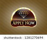 gold badge with diamond icon...   Shutterstock .eps vector #1281270694