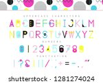 memphis digital font. colorful... | Shutterstock .eps vector #1281274024