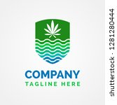 weed shield logo template | Shutterstock .eps vector #1281280444