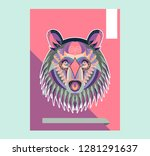 cute bear character vector... | Shutterstock .eps vector #1281291637