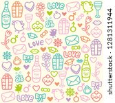 seamless doodle love pattern | Shutterstock . vector #1281311944