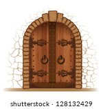 Arched Medieval Wooden Door In...