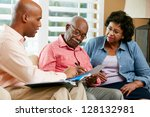 financial advisor talking to... | Shutterstock . vector #128132981