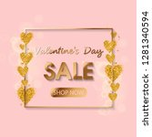 valentines day sale gold text... | Shutterstock .eps vector #1281340594