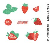 vector strawberry collection ... | Shutterstock .eps vector #1281357511
