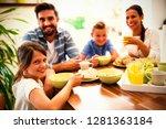 portrait of family having... | Shutterstock . vector #1281363184
