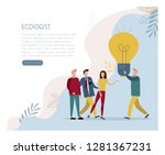 the ecologist proposes his idea....   Shutterstock .eps vector #1281367231