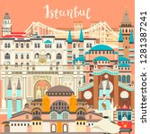istanbul city colorful vector... | Shutterstock .eps vector #1281387241