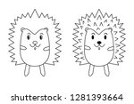 hedgehog cartoon vector line... | Shutterstock .eps vector #1281393664