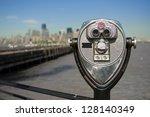tourist binoculars at liberty... | Shutterstock . vector #128140349