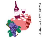 wine bottle and wineglass icon... | Shutterstock .eps vector #1281408754