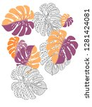 vector tropical pattern with... | Shutterstock .eps vector #1281424081