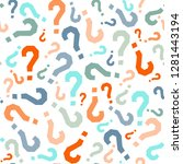 quiz seamless pattern. question ... | Shutterstock .eps vector #1281443194