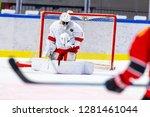 ice hockey goalie makes a great ... | Shutterstock . vector #1281461044