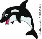 Cute killer whale cartoon - stock vector