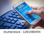 female hand holdding a... | Shutterstock . vector #1281480454