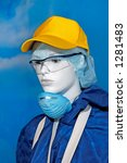 Female mannequin in protective clothing and respirator ecology concept - stock photo