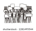 crowd of people with placards... | Shutterstock .eps vector #1281495544